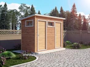 Деревянный душ с односкатной крышей 3х1.5