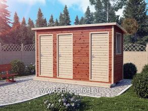 Деревянный душ с односкатной крышей 4х1.5