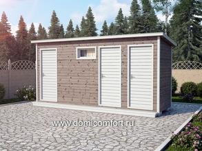 Деревянный душ с односкатной крышей 5х1.5