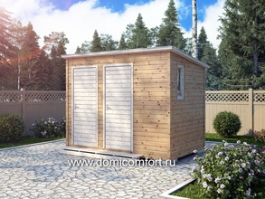 Деревянный душ с односкатной крышей 3х2
