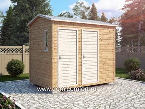 Деревянный душ с двухскатной крышей 3х2