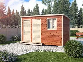 Деревянный душ с односкатной крышей 4х2