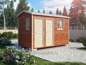 Деревянный душ с двухскатной крышей 4х2
