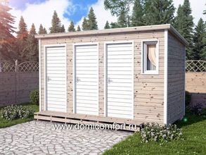 Деревянный душ с односкатной крышей 4х2 три двери