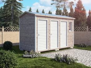 Деревянный душ с двухскатной крышей 4х2 три двери
