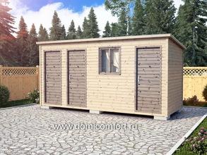 Деревянный душ с односкатной крышей 5х2