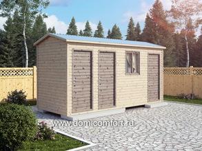 Деревянный душ с двухскатной крышей 5х2