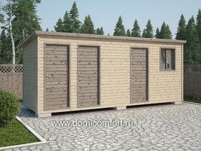 Деревянный душ с односкатной крышей 6х2