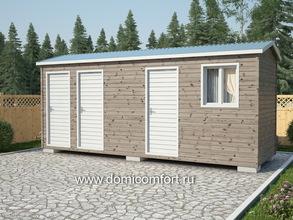 Дачный туалет 6х2 двухскатная крыша