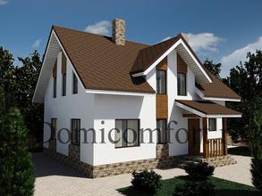 Дом из кирпича 9 на 10 с крыльцом