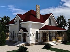 Дом из кирпича 10 на 10 с угловой верандой