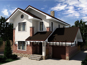 Дом из пеноблоков 12,3 на 11 с гаражом и террасой