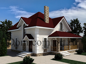 Дом из газоблоков 10 на 10 с угловой террасой